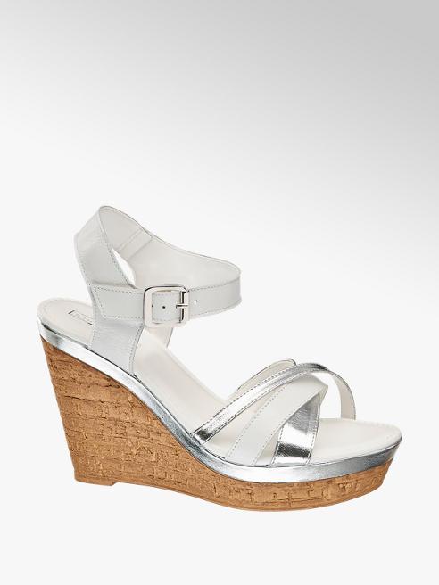 5th Avenue Bílé kožené sandály na klínku 5th Avenue