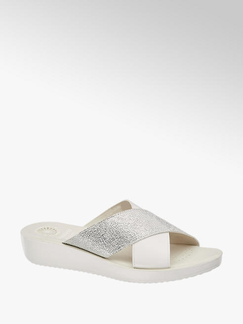Easy Street Bílé komfortní pantofle Easy Street