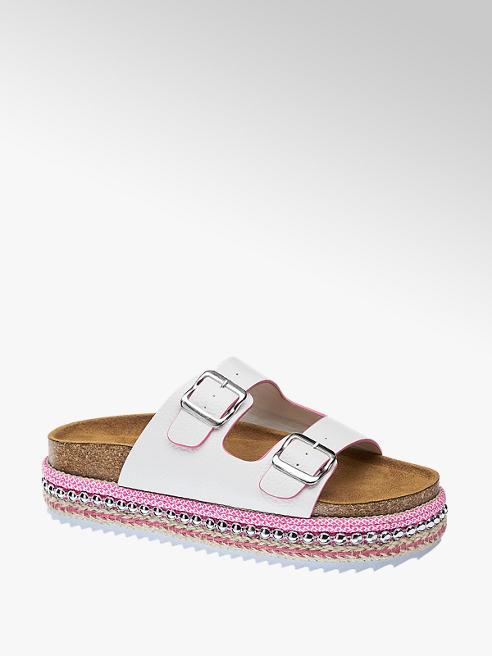 Star Collection Bílé pantofle na platformě Rita Ora