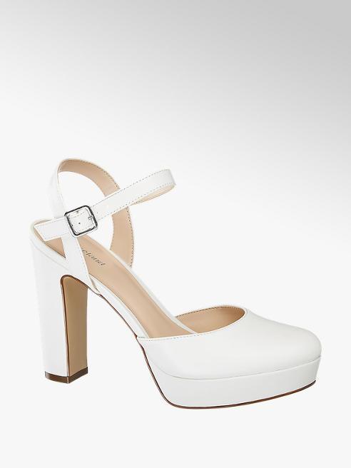 Graceland Bílé sandály na podpatku Graceland