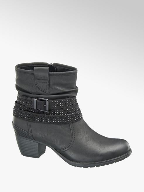 Graceland Black Stud Detail Heeled Ankle Boots