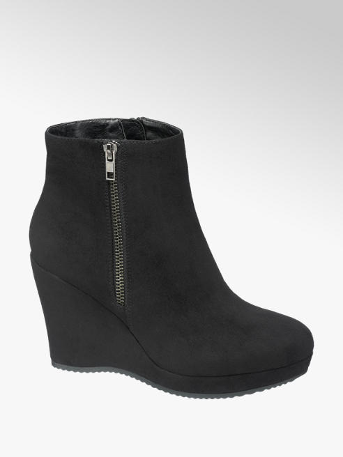 Graceland Black Wedge Ankle Boots