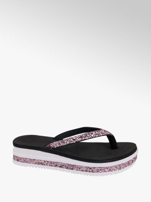Blue Fin Ladies Chunky Toe-Post Glitter Sandals