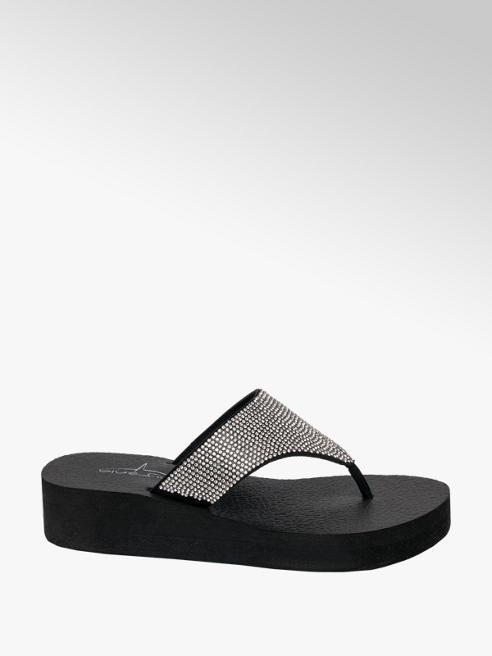 Blue Fin Ladies Blue Fin Black Toe-Post Flip Flops