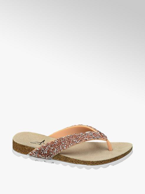 Blue Fin Ladies Glitter Toe-Post Sandals