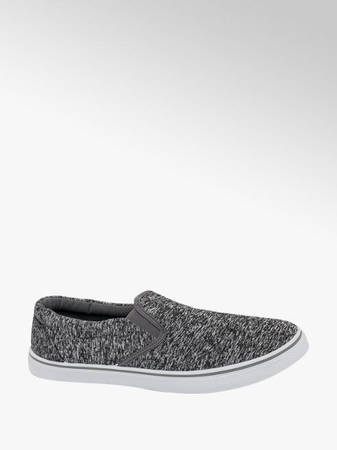 Blue Fin Mens Blue Fin Grey Canvas Slip-on Shoes