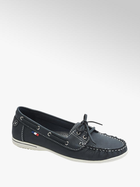 Graceland Ladies Navy Contrast Stitch Boat Shoes
