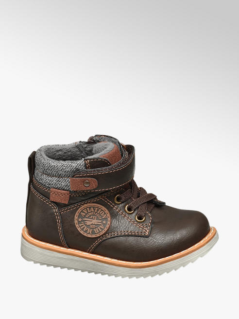 Bobbi-Shoes Toddler Boy Brown Badge Detail Ankle Boots
