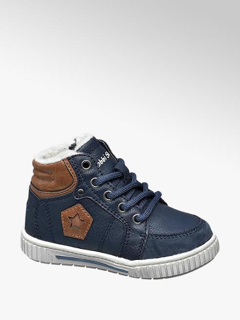 Bobbi-Shoes Blauwe halfhoge sneaker gevoerd