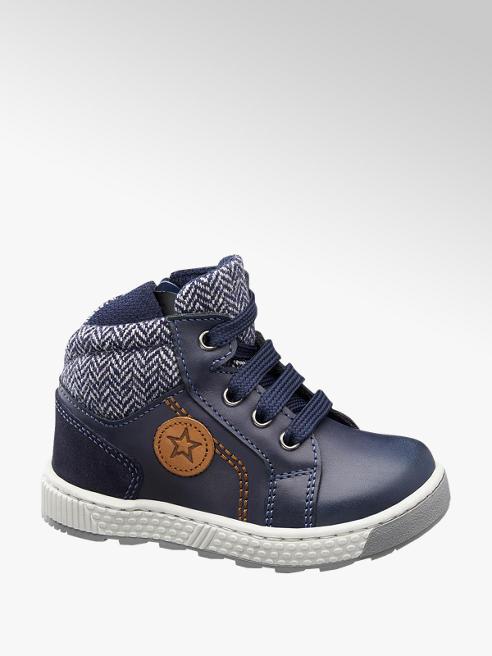 Bobbi-Shoes Blauwe leren boot ritssluiting