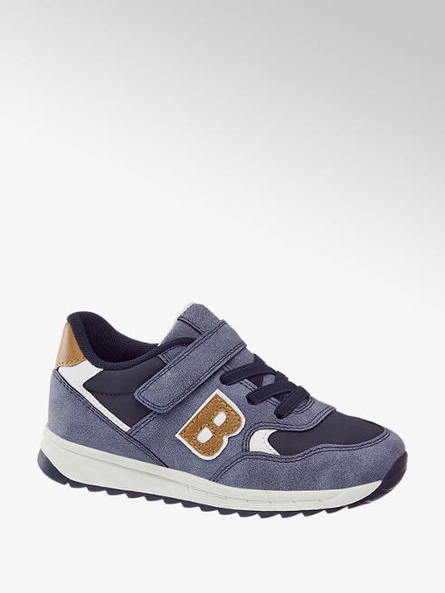 Bobbi-Shoes Blauwe sneaker elastische vetersluiting