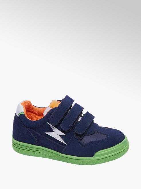 Bobbi-Shoes Blauwe suède sneaker klittenbandsluiting