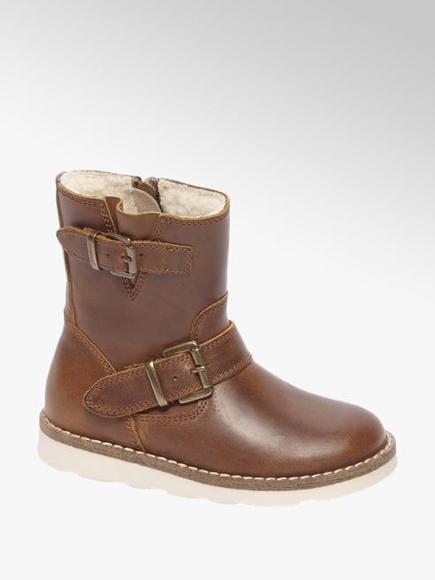 Bobbi-Shoes Bruine leren bootie warmgevoerd