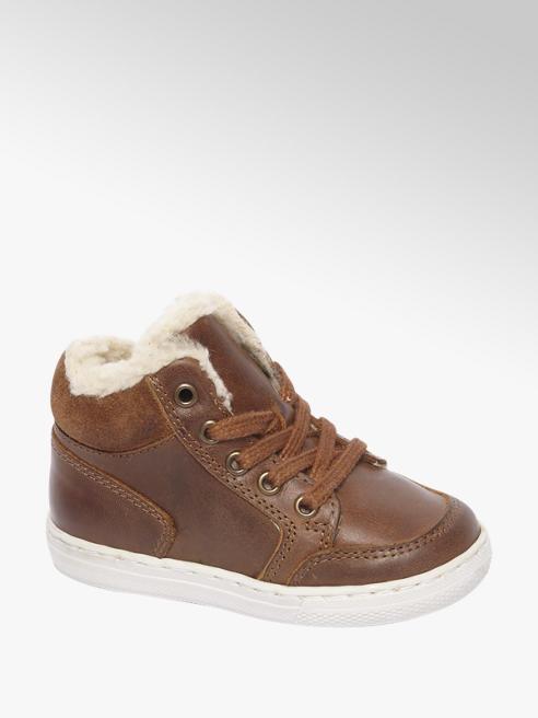 Bobbi-Shoes Bruine leren halfhoge sneaker gevoerd