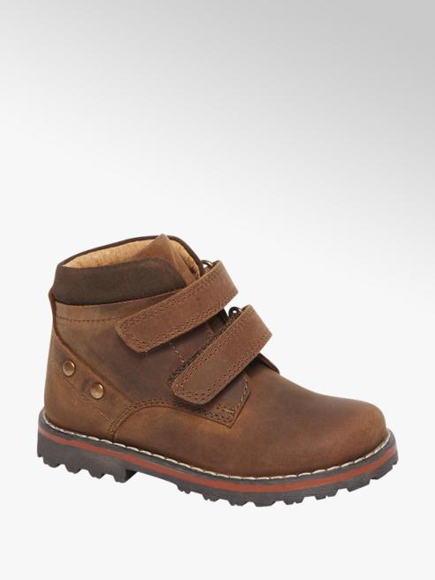 Bobbi-Shoes Cognac leren boot klittenbandsluiting