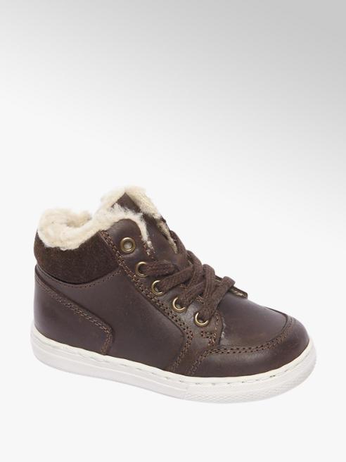 Bobbi-Shoes Donkerbruine leren halfhoge sneaker gevoerd