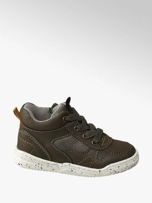 Bobbi-Shoes Donkerkhaki sneaker vetersluiting