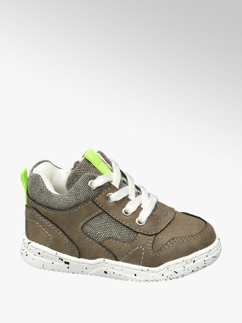 Bobbi-Shoes Khaki halfhoge sneaker vetersluiting