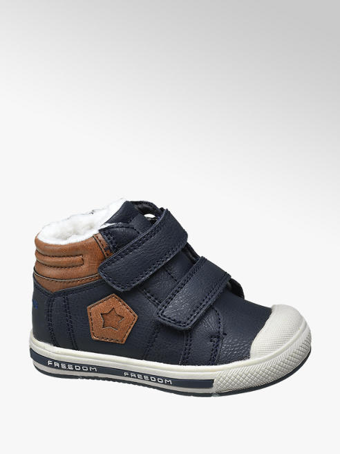 Bobbi-Shoes Toddler Boy Navy Double Rip Tape Strap Ankle Boots