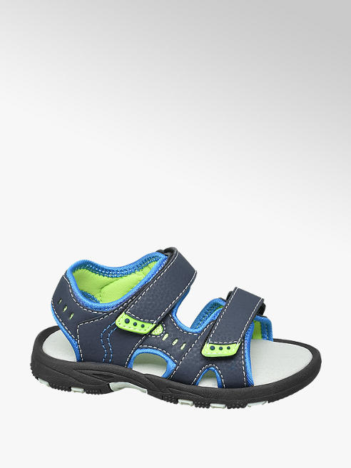 Bobbi-Shoes Toddler Boys Blue and Green Twin Strap Sandals