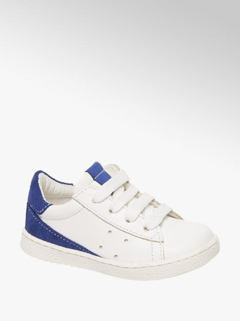 Bobbi-Shoes Witte leren sneaker vetersluiting