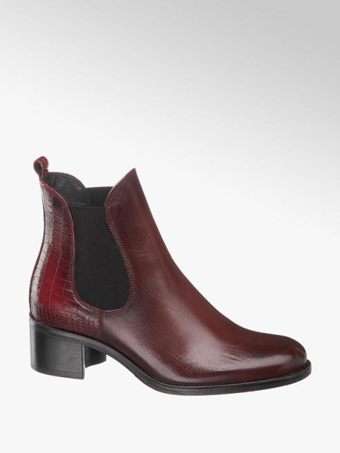 5th Avenue Bordová kožená Chelsea obuv so zvieracím vzorom 5th Avenue