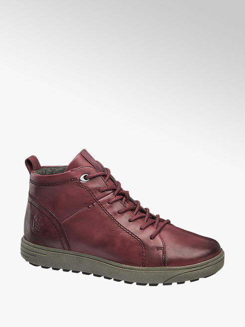 Medicus Bordová kožená komfortná šnurovacia obuv so zipsom Medicus