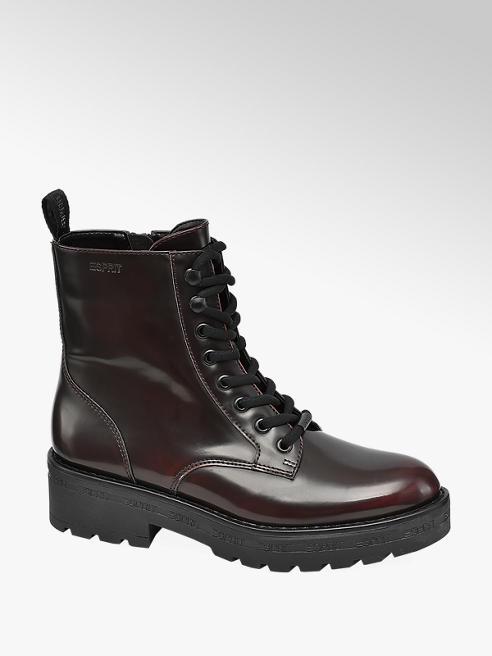 Esprit Bordová šnurovacia obuv so zipsom Esprit