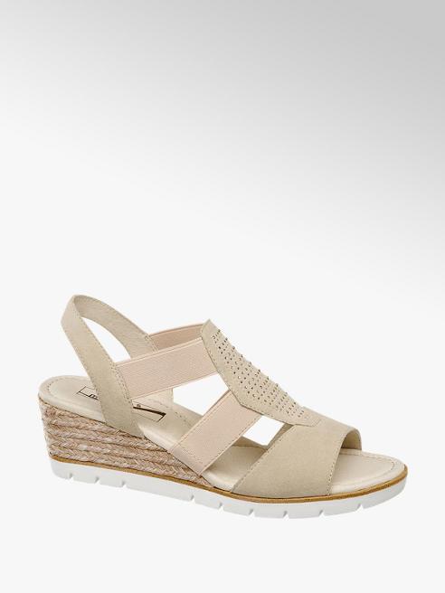 Medicus Béžové kožené komfortné sandále na klinovom podpätku Medicus