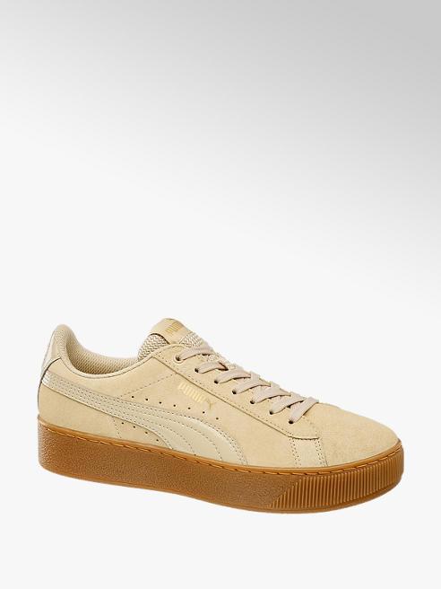 Puma Béžové kožené tenisky Puma Vikky Platform