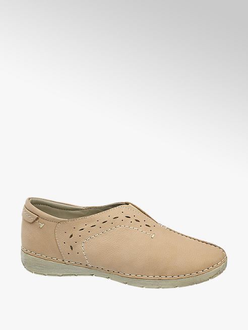Easy Street Béžovorůžová kožená komfortní slip-on obuv Easy Street