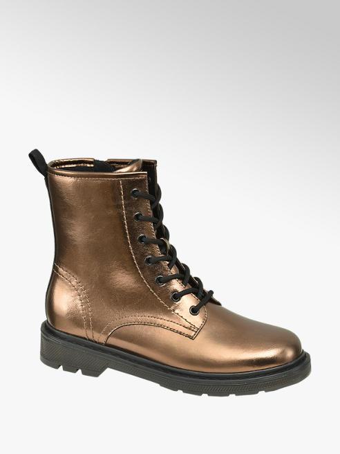 Catwalk Bronzová metalická šnurovacia obuv so zipsom Catwalk