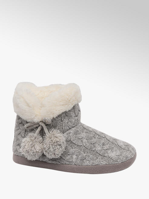 Casa mia Ladies Knitted Slipper Boots