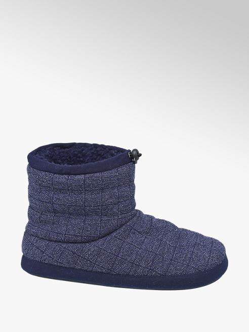 Casa mia Blauwe warmgevoerde pantoffel