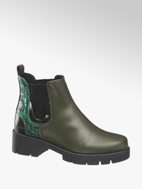 Catwalk Chelsea Boots in Grün mit Animal-Prägung