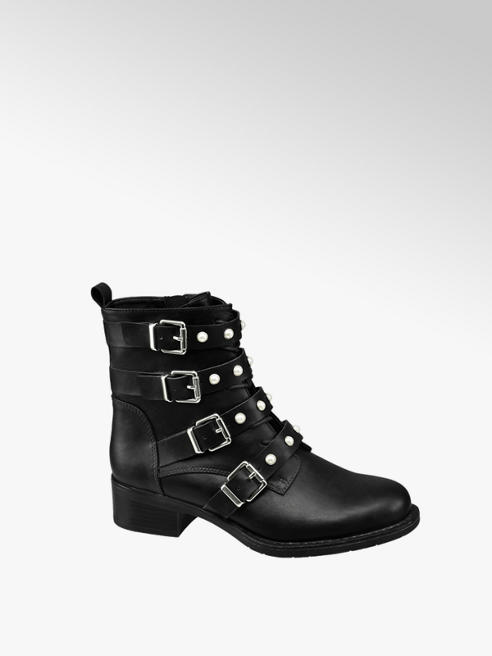 Graceland Black Pearl Detail Chunky Ankle Boots