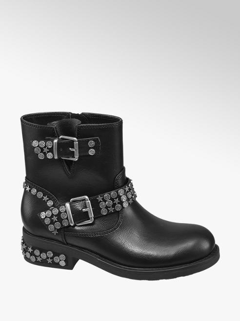 Graceland Black Buckle Studded Detail Ankle Boots