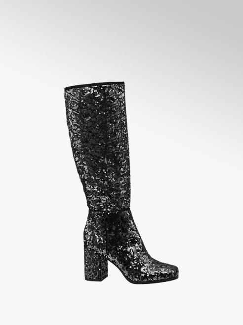 Graceland Black Sequin Detail Long Leg Boots