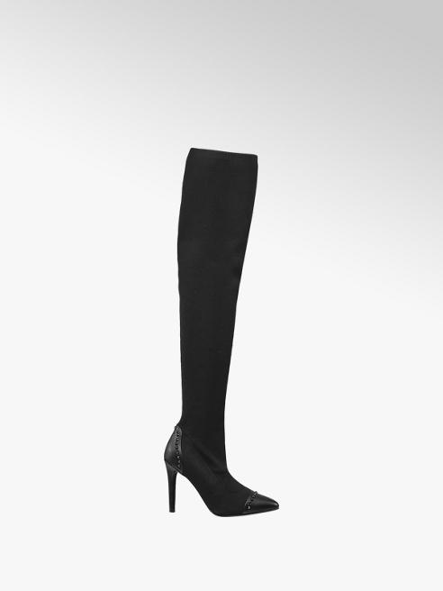 Graceland Black Heeled Over the Knee Boots