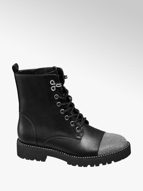 Graceland Black Studded Chunky Lace-up Ankle Boots