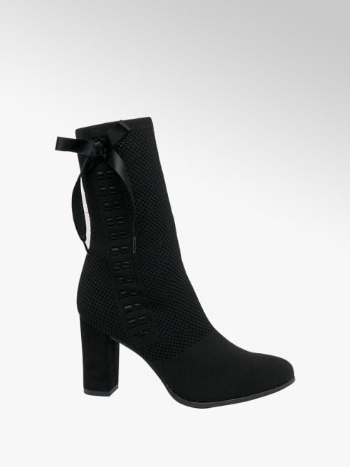 Graceland Black Bow Ribbon Heeled Sock Boots