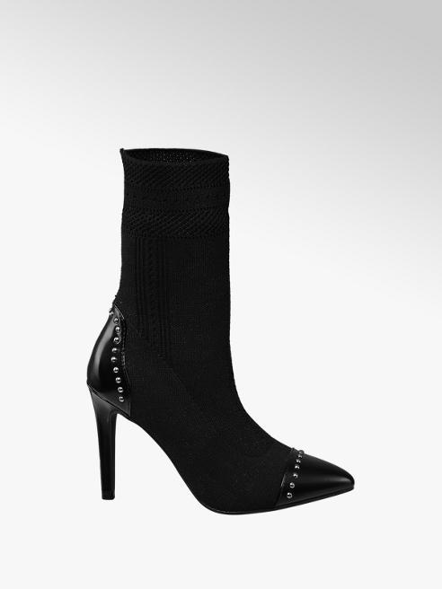 Graceland Black Stiletto Heel Studded Sockboots