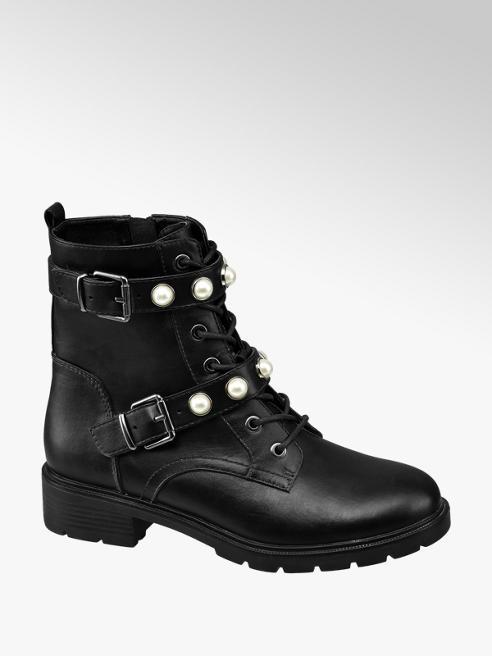 Graceland Black Pearl Strap Ankle Boots