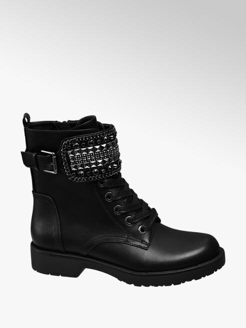 Graceland Black Stud Strap Lace-up Chunky Ankle Boots