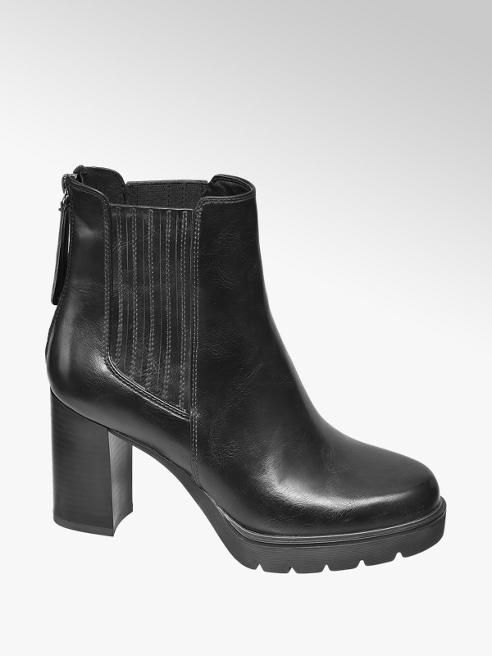 Catwalk Black Chunky Heeled Ankle Boots
