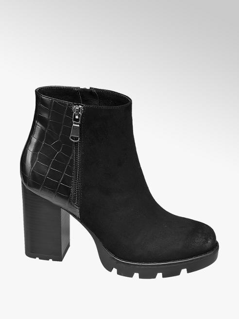 Catwalk Black Chunky Heeled Boots