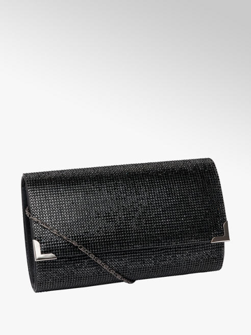 Catwalk Black Diamante Clutch Bag
