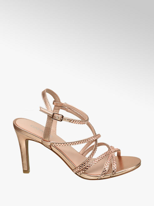 Catwalk Rose Gold Gem Detail High Heels