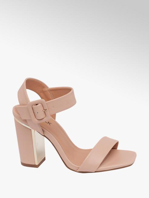 Catwalk Nude Gold Detail Block Heels