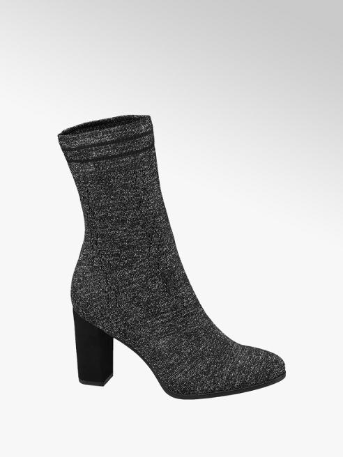 Graceland Grey Speckled Heeled Sockboots